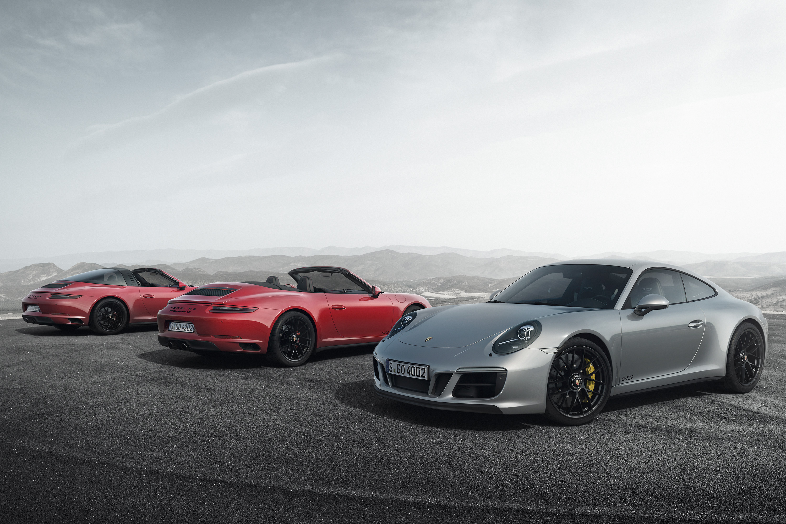 <p>Starting with the 911 Carrera GTS, with rear wheel-drive, and the 4 GTS (both available in coupé or cabriolet configuration), the new range is spearheaded by the stunning 911 Targa 4 GTS.</p>