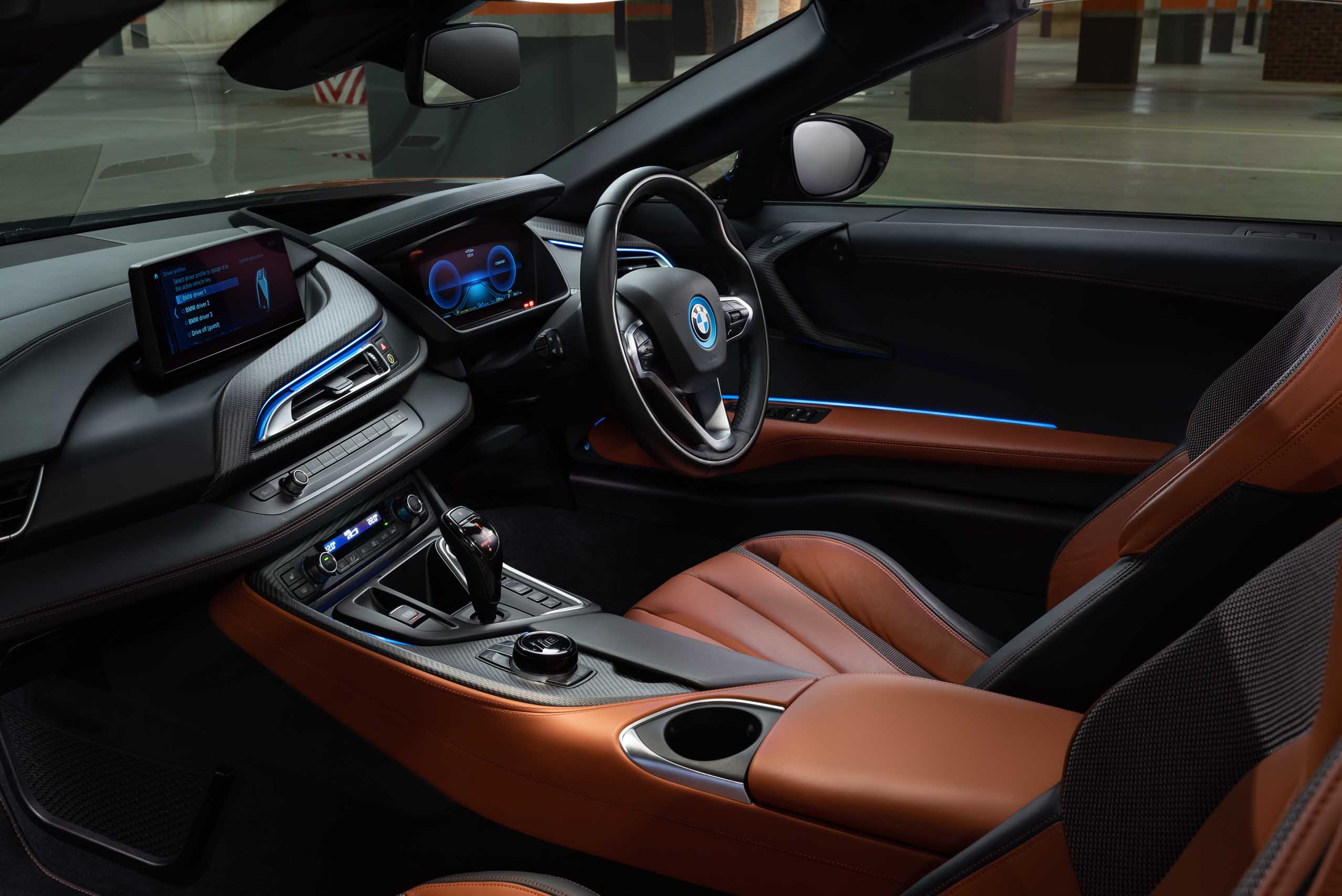 2018 Bmw I8 Roadster Interior View Showing The Seats And Steering
