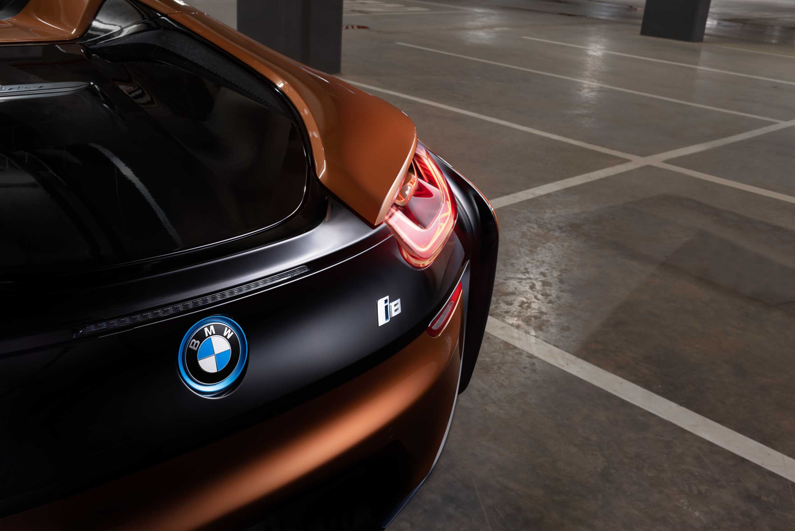 2018 Bmw I8 Roadster Rear View Showing The I8 And Bmw Badge Driven